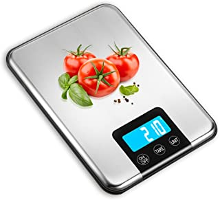 Nicewell Digital Kitchen Food Scale 33lb Grams and Oz, LCD Screen Display and Stainless Steel, Capacity Range from 0.1oz (2g) to 33lbs (15kg), Batteries Included