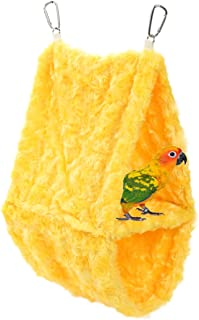 Comidox Double layer Plush Snuggle Bird Hammock Hanging Snuggle Cave Happy Hut Bird Parrot Hideaway Size L
