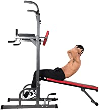 ZELUS Multifunctional Power Tower Workout Pull Up Dip Station Adjustable Height Pull Up Bar Station Tower with Sit up Bench for Indoor Home Gym Fitness Dip Stand