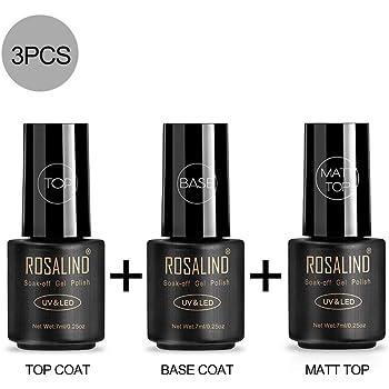 ROSALIND - Juego de esmaltes de gel semipermanentes, secado con rayos UV y LED, kit de manicura compuesto de 12piezas de 7ml