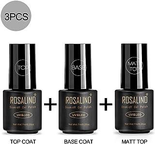 ROSALIND Base y Top Coat y Matte Top Coat Semipermentes Esmaltes Semipermanentes de Uñas en Gel UV LED Gel Soak Off 3PCS...