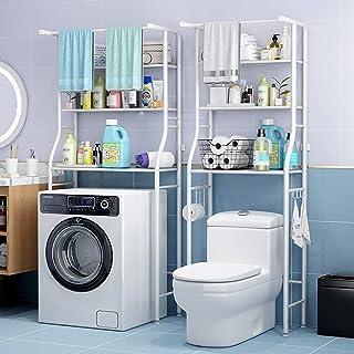 In-House Storage Metal Rack 3-Layer, Use Shower, Toilet, Bathroom & Washing Machine Storage Rack -68x25x152cm, White, TM-0091