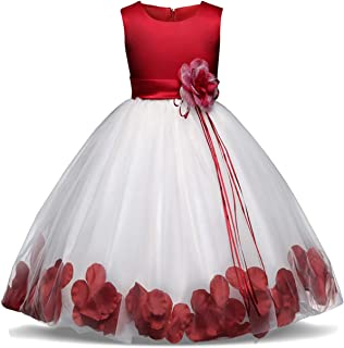 Girl Tutu Flower Petals Bow Bridal Dress for Toddler Girl