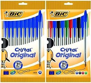 Bic - Pack 10 bolígrafos de punta redonda de color azul + 10 bolígrafos de punta redonda de colores variados