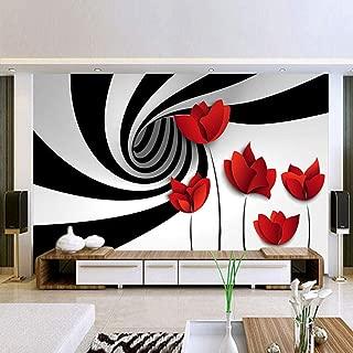 KAHSFA 3D Wallpaper Custom Self-Adhesive Mural Wallpaper Modern Abstract Flower Floral Black White Striped Living Room TV Backdrop Art Wall Painting-300cmx210cm