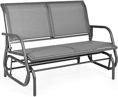 DORTALA 48'' Outdoor Patio Swing Glider Bench Chair, Cozy Patio Bench for 2 People, Steel Rocking Garden Loveseat with Spacio