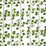12 Pack Artificial Ivy Garland 85Ft Fake Vine Green Leaves Wall Decoration Hanging Vine Plant Room Decor