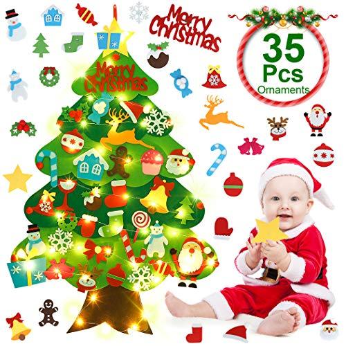 JUSTDOLIFE Árbol de Navidad De Fieltro, Árbol Rbol De Fieltro de Bricolaje con Luces Led de Cadena, Niños, Adornos de Árbol De Navidad para Colgar En La Pared (35 PCS Adornos)
