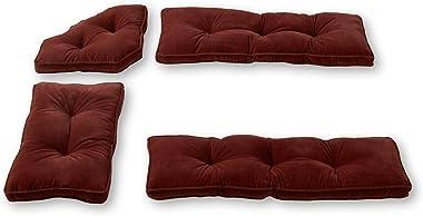 Greendale Home Fashions Hyatt 4-Piece Kitchen Nook Cushion Set, Maroon