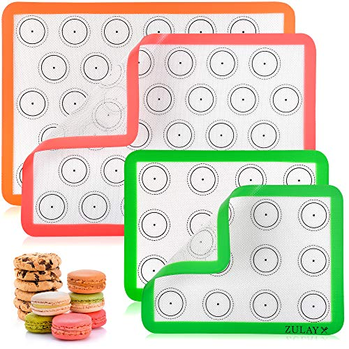 Zulay (Set of 4) Silicone Baking Mat - Macaron Silicone Baking Mats With...