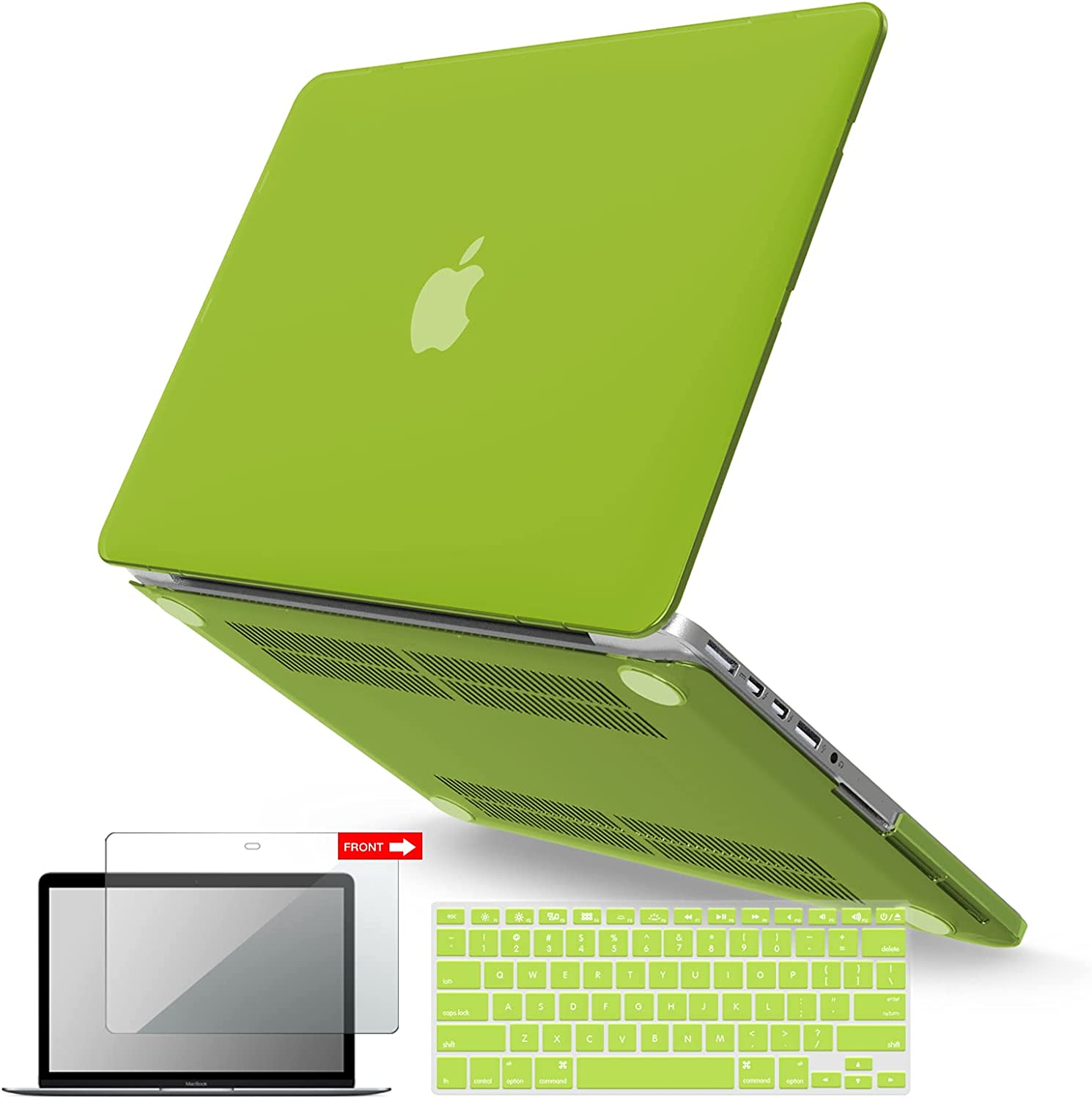 IBENZER MacBook Pro 13 Inch Case 2015 2014 2013 end 2012 A1502 A1425, Hard Shell Case with Keyboard Cover & Screen Protector for Old Version Apple Mac Pro Retina 13, Avocado Green, R13AVGN+2