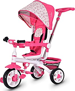 Costzon 4 in 1 Kids Tricycle Steer Stroller Toy Bike w/Canopy, Safety Seat, Storage Basket, Foot Pedals, for Children Age 10 Months to 5 Years Old (Pink)