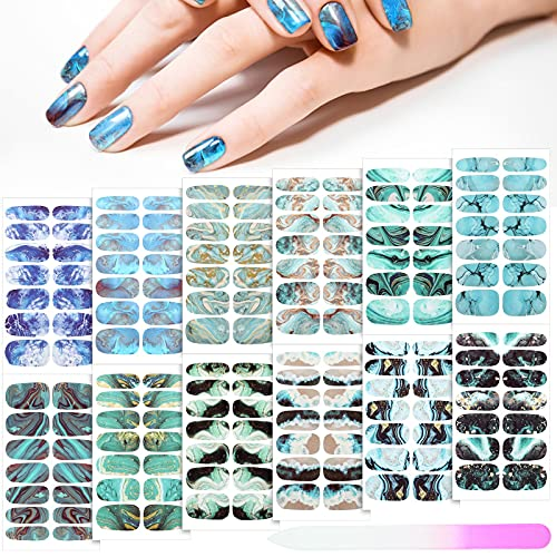 168 Pieces 12 Sheets Gradient Marble Full Nail Stickers Marble Printed Full Wrap Nail Stickers Self-Adhesive Nail Art Decal Strips with Glass Nail File for Women Girls DIY Nail Art (Retro Style)