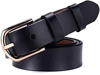 Student Belt with Alloy Buckle Ladies Casual Leather Belt. (Color : Black)