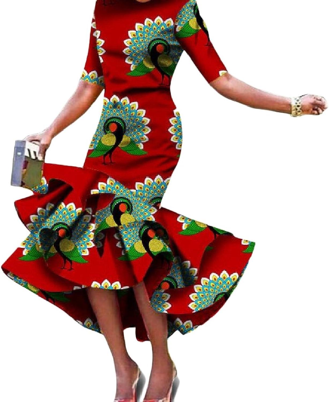 DressU Women's Basic Big Pendulum African Dashiki Printed Comfy Mid Length Dress