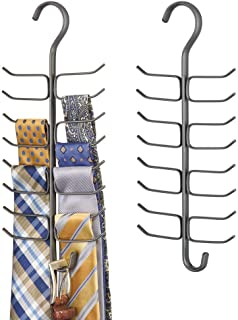 mDesign Long Vertical Steel Metal Wire Closet Rod Hanging Accessory Organizer for Ties, Belts, Scarves, and Accessories with 17 Storage Hooks - 2 Pack - Graphite Gray