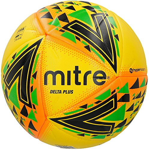 Mitre Delta Plus Professional Football, Unisex, Delta Plus Professional, Yellow/Black/Green