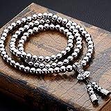 CXD Collana in Acciaio Inossidabile 118 Buddha Catene Collana di Perle Braccialetto di Auto-Difesa Accessori Auto-Difesa Titanio Acciaio Metallo Frusta,6