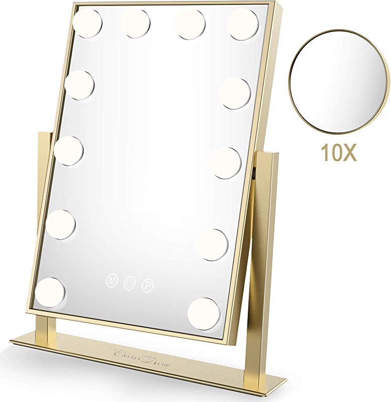 Lighted Makeup Mirror For Vanity Hollywood Vanity Mirror With Lights 3 Color Modes Tabletops Cosmetic Light Up Makeup Mirror With Dimmable Bulbs 12 X 3W Touch Control UL Power Plug Supply