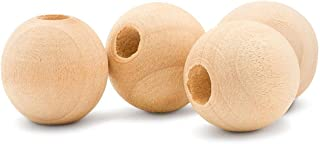 Niome 50pcs Round Wood Spacer Beads Natural Wood Color Wooden Loose Beads for Crafts DIY Jewelry Accessories