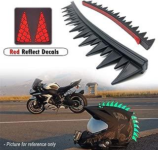 Reflective Motorcycle Helmet Dirt Biker BMX Helmets Mohawks Mohawk Spikes Rubber Saw with Red Helmet Decals(Helmet not Included)