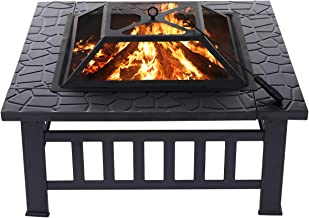 KINGSO 34'' Outdoor Fire Pit Metal Square Firepit Patio Stove Wood Burning BBQ..