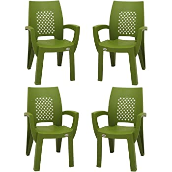 Supreme Villa Esquire Plastic Chair for Home and Office (Mehandi Green) Set of 4