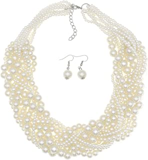 Simulated Pearl Choker Necklaces for Women Multilayer Beads Bib Necklace and Earrings Set