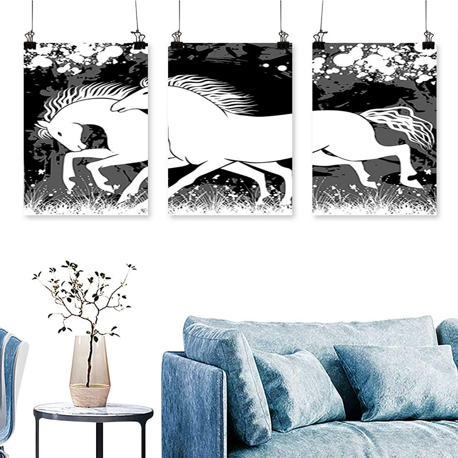 SCOCICI1588 3 Panels Triptych Antique Roman Time Gladiator Two Race Horses with Paint Marks Image Black White for Home Modern Decoration No Frame 30 INCH X 60 INCH X 3PCS