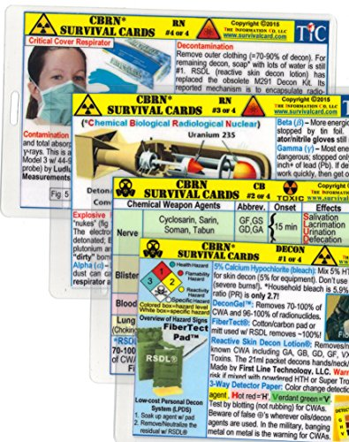 CBRN (Chemical - Biological - Radiological - Nuclear) Survival Card Training Quick Reference Guide - 4 card set - Large 3.5 x 5.5 in., Pocket Size - Laminated - Hole Punched - Water Resistant