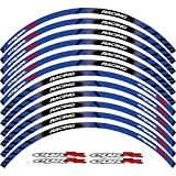 Pegatina de rueda de motocicleta 17 pulgadas adhesivos reflectantes llanta cinta de coche estilo para Honda CBR HRC REPSOL (azul)