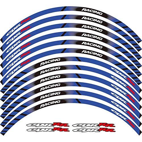 Motorcycle Wheel Sticker 17' Reflective Decals Rim Tape Bike Car Styling For HONDA CBR HRC REPSOL (BLUE)