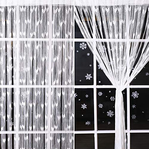 2 Stück Weiß Faden Vorhang Panel mit Herz Muster