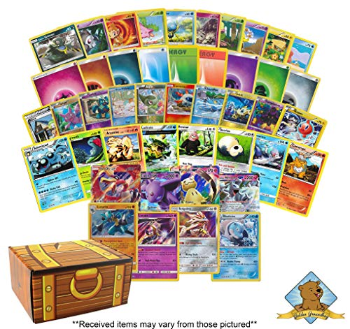 300 Card Premium Pokemon Collection Lot - Featuring 150 Energy - 130 Common/Uncommon Cards - 10 Foils - 6 Rares - 2 Holo Rares - 2 GX Ultra Rare! Includes Golden Groundhog Treasure Chest Storage Box!