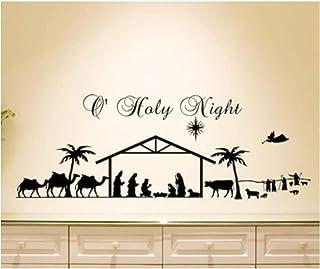 Christmas Wall Decal Home Living room Decor Wall Sticker Holy Night Nativity Scene Animal Men Silhouette Vinyl Wall Mural ...