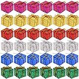 Firtink 144 Stück Weihnachtsdekoration Schleifen Weihnachten Deko Mini Geschenkboxen für Urlaub, Geburtstag, Hochzeit, Party