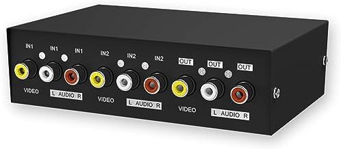 MT-VIKI 2-Way AV RCA Switch, 231AV RCA Selector Audio Video Switcher Box