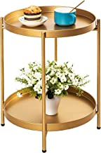 Round End Table: 2 Tier Metal Sofa Side Table Small Coffee Table Foldable Anti-Rust Waterproof with Removable Tray, Easy t...