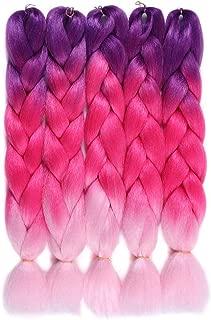 Jumbo Braiding Hair Extension Synthetic Three Tone Ombre Hair Crochet Braids Fiber 5Pcs/Lot 100g/pc for Twist Braiding Hair (Purple/Rose Red/Light Pink)