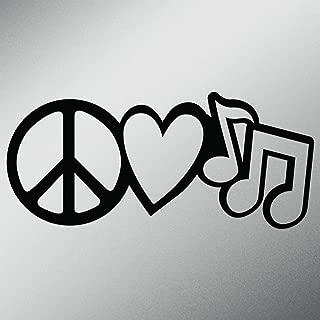 Peace Love Music Vinyl Decal Sticker | Cars Trucks Vans Walls Laptops Cups | Black | 7.5 X 3.4 Inch | KCD1618B