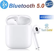 Bluetooth 5.0 Earbuds Wireless Headphones Hi-Fi Sound Bluetooth Headset with Mini Charging Case 24Hrs Extended Playtime Pop-Up Pairing for iPhone/Samsung/Apple/Airpod Sports Earphone
