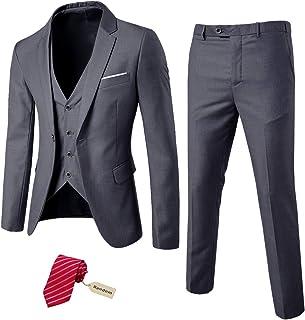 ست لباس مردانه 3 تکه مردانه MY ، شلوار جلیقه ژاکت جامد یک دکمه ای با کراوات