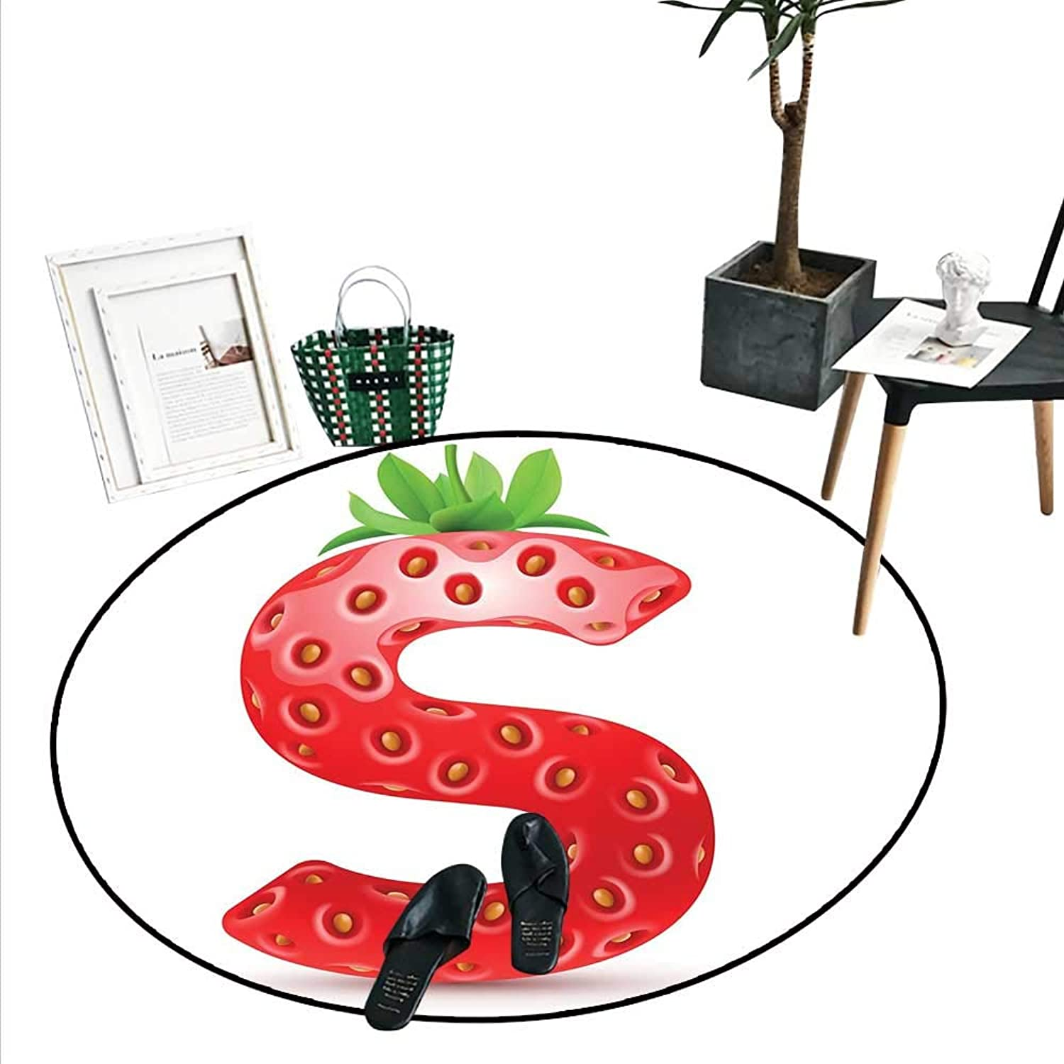 Letter S Round Area Rug Capital S Strawberry Seeds Green Leaves Organic Plant Realistic Circle Rugs Living Room (3'6  Diameter) Vermilion Green orange