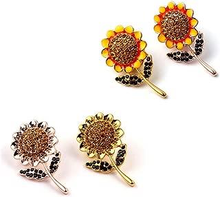 EFHBFWEJH 4 stücke Sonnenblumen Broschen mit Voller Kristall Luxus Schmuck Zubehör für Hochzeit Frauen Party Kleid Gold Braut Brosche Pins