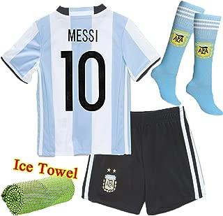 Barcelona Kids Jersey New 2017 light blue /black Football Soccer Home Kit Kids Jersey & Shorts & Socks & Free Ice Face Cloth Sportwear Kit (3-4 years)