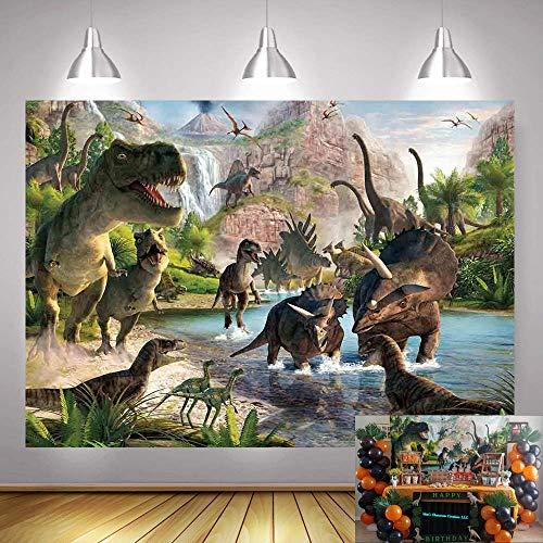 Art Studio Jurassic Dinosaur World Park Photography Backdrop Children Birthday Party Banner Photo Background Jungle Safari Animals Baby Shower Photo Booth Studio Prop 5x3ft Cake Table Decorations