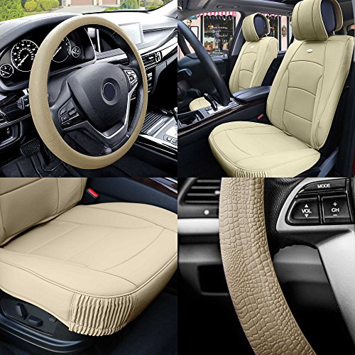 FH Group PU205102 Ultra Comfort Highest Grade Faux Leather Seat Cushions (Beige) Front Set with Gift – Universal Fit for Cars Trucks & SUVs