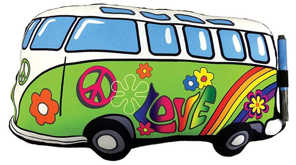 iscream Summer of Love Van Shaped Souvenir Autograph Pillow for Parties, Camp, and More