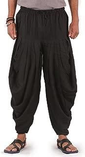 The Harem Studio Mens Womens Linen Pants Drawstring Elastic Waist 2 Pockets Harem Pants - Dhoti Style