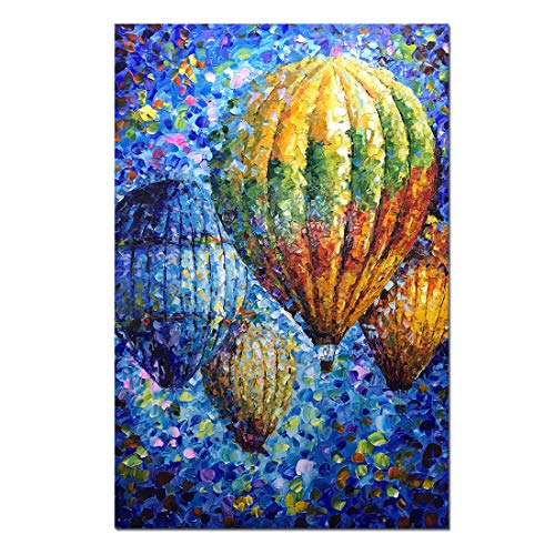 V-inspire Art, 24x36 inch 100% Hand-Painted Oil Paintings on Canvas Wall Art Modern Abstract Art Flying Hot Balloon Stretched Ready Hanging irectly in The Living Room Bed Room Dinning Room Art Decor